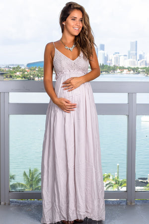 Silver Crochet Top Maxi Dress with Frayed Hem New Arrivals, Dresses, Maxi Dresses Wishlist/ DC7122E - Silver $21.95