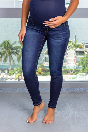 Dark Wash Maternity Skinny Jeans New Arrivals, Bottoms Kancan/ KC6222D - Dark $19.50