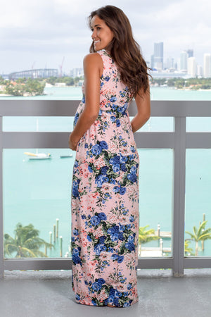 Blush and Blue Floral Maxi Dress New Arrivals, Dresses, Maxi Dresses, On Sale Vanilla Bay/ VD7939 - Blush/Blue