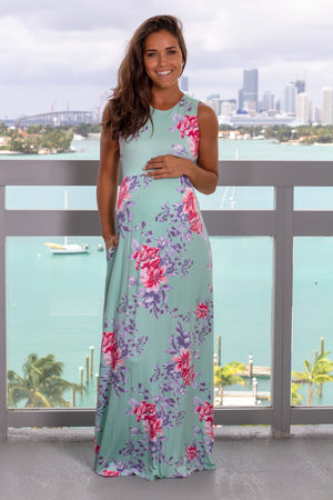 Mint and Blue Floral Maxi Dress New Arrivals, Dresses, Maxi Dresses, On Sale Vanilla Bay/ VD40095 - Mint