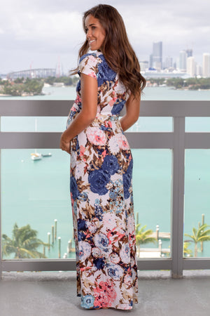 Blue Floral Short Sleeved Wrap Maxi Dress New Arrivals, Dresses, Maxi Dresses, On Sale Vanilla Bay/ VD40084 - Blue
