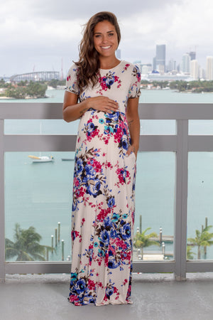 Ivory Floral Maxi Dress with Short Sleeves and Criss Cross Back New Arrivals, Dresses, Maxi Dresses, On Sale Bellamie/ D3559-1 - Ivory