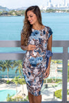 Blue Floral Short Dress with Bow Detail
