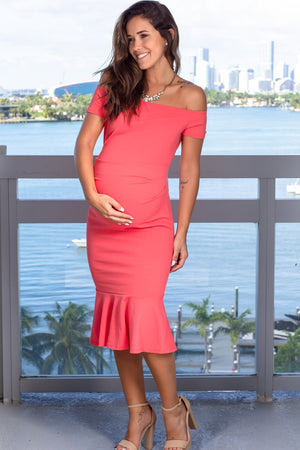 Coral Off Shoulder Midi Dress New Arrivals, Dresses, Short Dresses Hello Miz/ CMD1905s - Coral $10.75