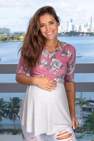 Mauve and Gray Floral Top New Arrivals, Tops Hello Miz/ CMT1716E - Mauve/Grey $10.75