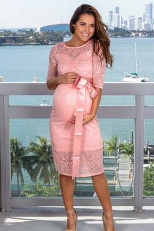 Pink Lace Short Dress New Arrivals, Dresses, Short Dresses My Bump/ MD0035LACE - Pink $21.75
