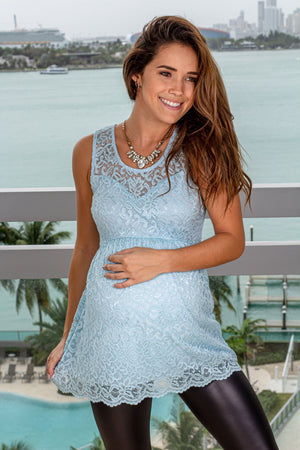 Sky Blue Lace Top New Arrivals, Tops Hello Miz/ CMT1912 - Sky Blue $11.75