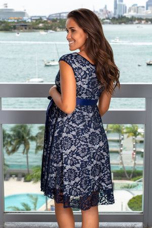 Navy and White Lace Short Dress New Arrivals, Dresses, Short Dresses, On Sale Hello Miz/ CMD1064 - Navy/White $16.75