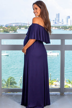 Navy Off Shoulder Maxi Dress with Ruffled Top New Arrivals, Dresses, Maxi Dresses Hello Miz/ CMD1636S - Navy $13.75