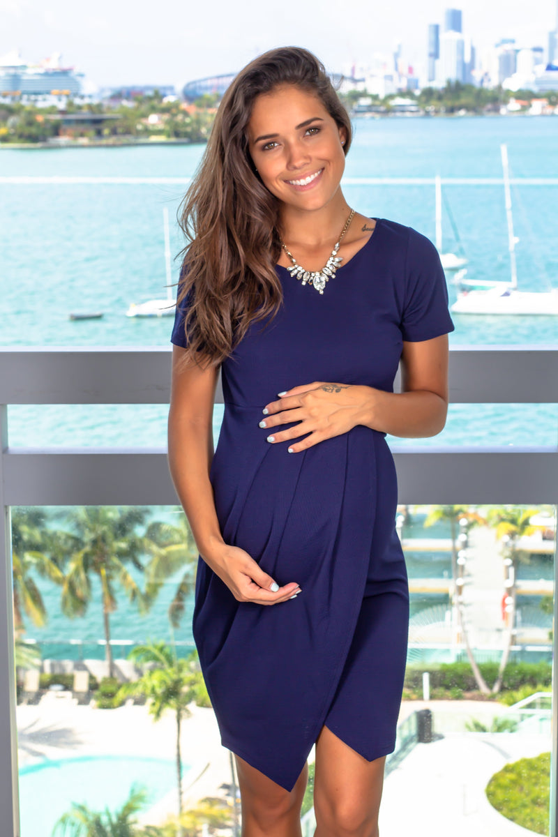 Navy Short Dress with Sleeves New Arrivals, Dresses, Short Dresses Hello Miz/ CMD1760S - Navy $10.75