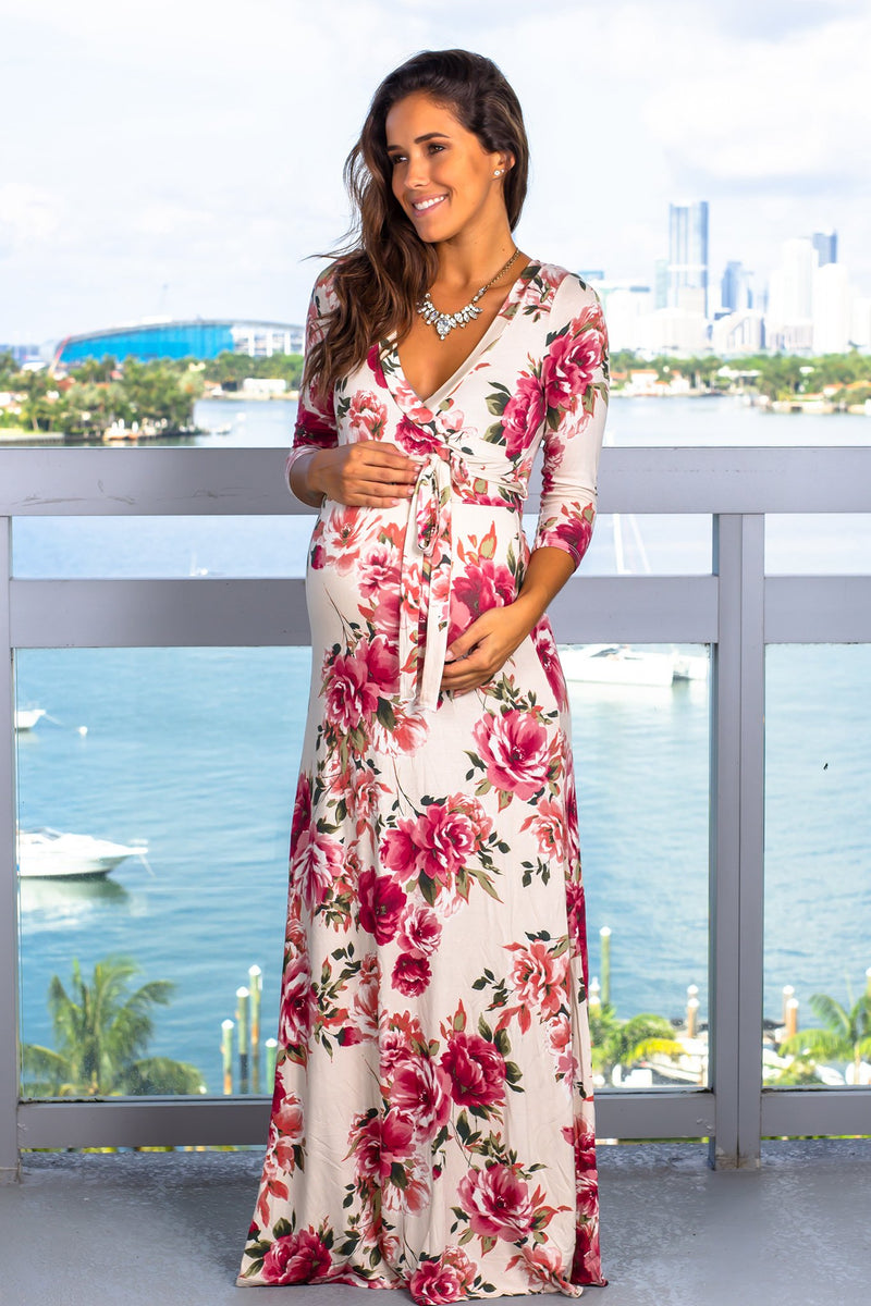 Ivory Floral Maxi Dress New Arrivals, Dresses, Maxi Dresses Hello Miz/ CMD1575B - Ivory $20.25