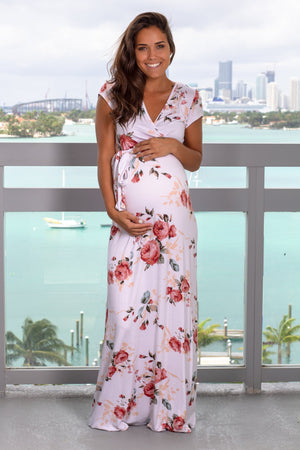 Ivory Floral Maxi Dress with Self tie Waist New Arrivals, Dresses, Maxi Dresses, On Sale Vanilla Bay/ VD40101 - Ivory