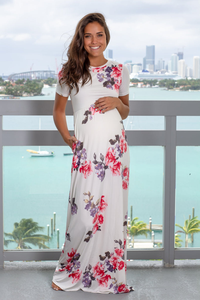 Ivory Floral Maxi Dress with Short Sleeves