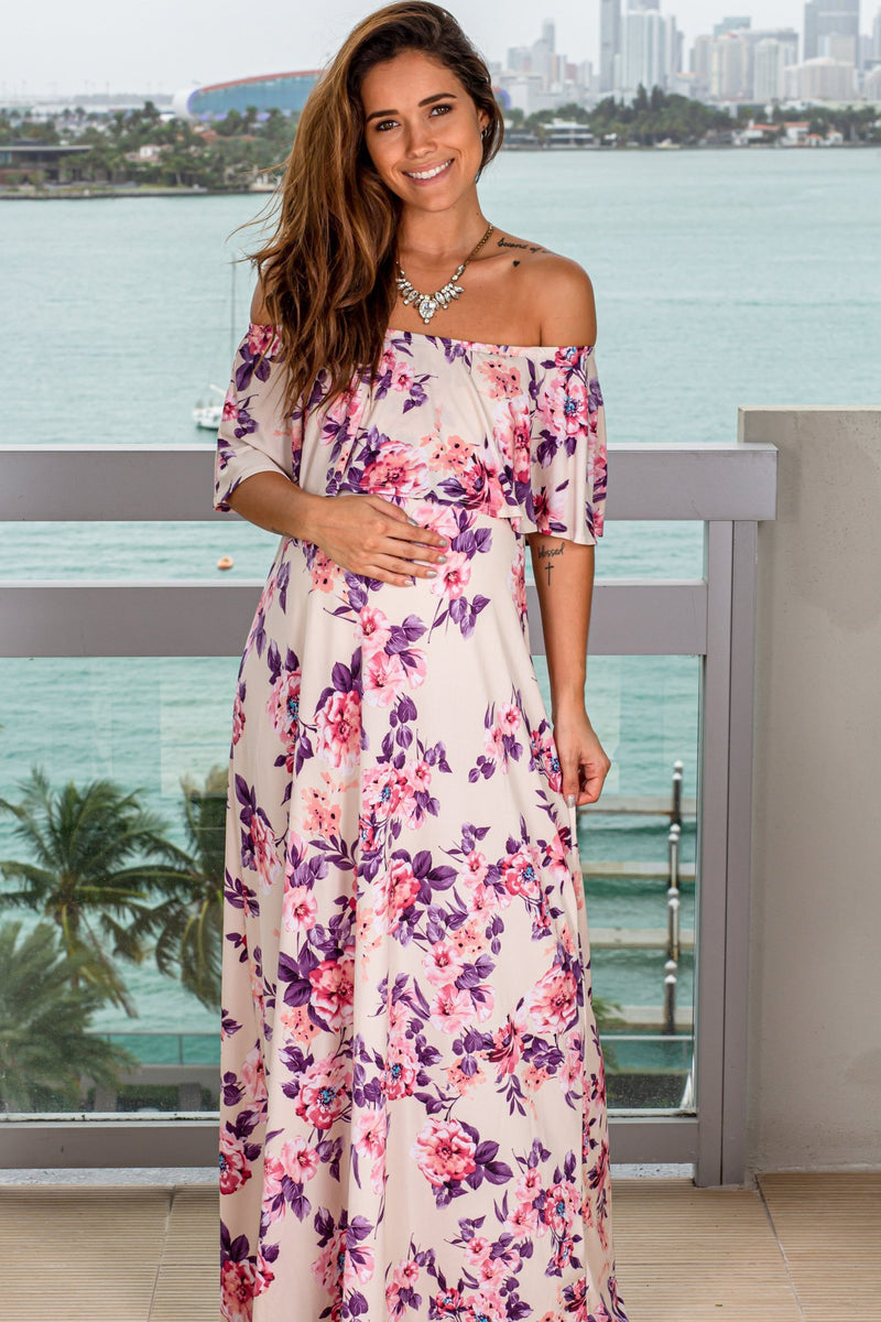 Cream Floral Off Shoulder Maxi Dress New Arrivals, Dresses, Maxi Dresses, Hello Miz/ CMD1636E - Ivory $18.75