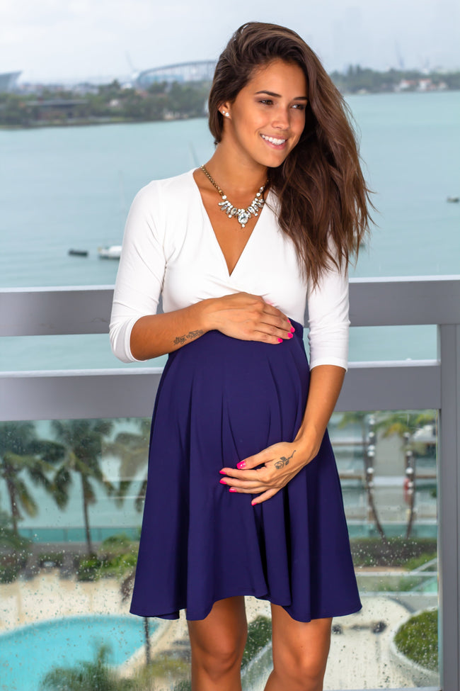 Ivory and Navy Short Dress New Arrivals, Dresses, Short Dresses Hello Miz/ CMD1419S - Ivory/Navy $12.75