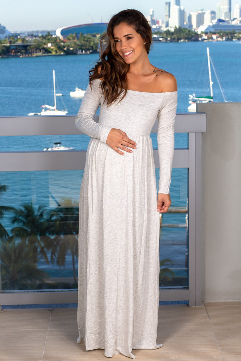 Light Gray Off Shoulder Maxi Dress