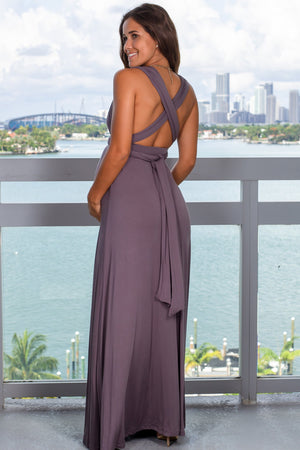 Charcoal Tie Maxi Dress with Open Back New Arrivals, Dresses, Maxi Dresses Wishlist/ DK3118E- Charcoal $23.95