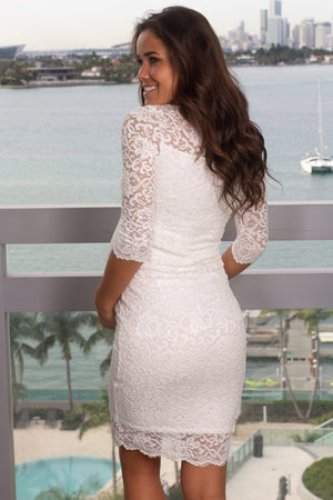 White Lace Short Dress with 3/4 Sleeves New Arrivals, Dresses, Short Dresses Hello Miz/ CMD/CMT1383 - White $14.50