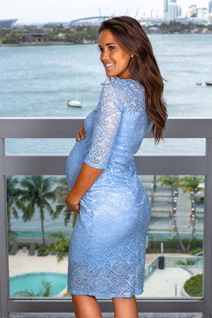 Light Blue Lace Short Dress New Arrivals, Dresses, Short Dresses My Bump/ MD0035LACE - Light Blue $21.75