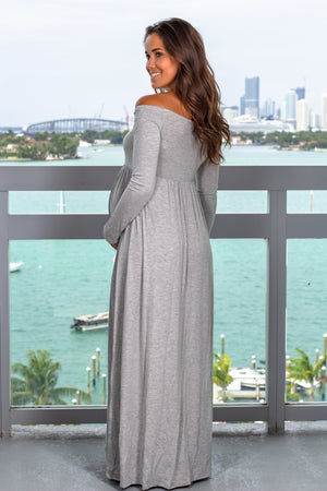 Heather Gray Off Shoulder Maxi Dress New Arrivals, Dresses, Maxi Dresses, On Sale Hello Miz/ CMD1849S - Heather Grey $12.75