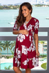 Burgundy Floral Short Dress with Tied Waist New Arrivals, Dresses, Short Dresses, On Sale My Bump/ MD0010SKAC - Burgundy $18.75