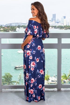 Navy Floral Off Shoulder Maxi Dress New Arrivals, Dresses, Maxi Dresses Hello Miz/ CMD1636U - Navy $13.75