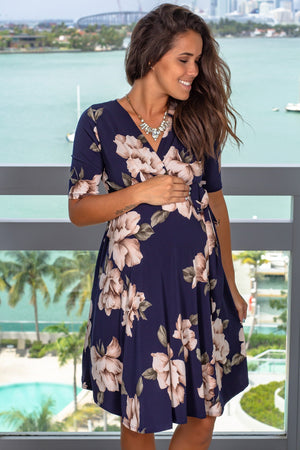 Navy Floral Short Dress with Tied Waist New Arrivals, Dresses, Short Dresses, On Sale My Bump/ MD0010SKAC - Navy $18.75