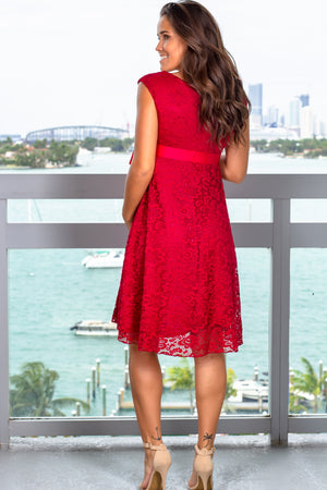 Burgundy Lace Short Dress New Arrivals, Dresses, Short Dresses, On Sale Hello Miz/ CMD1064 - Burgundy $16.75