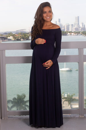 Navy Off Shoulder Maxi Dress New Arrivals, Dresses, Maxi Dresses Hello Miz/ CMD1849S - Navy $12.75