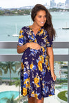 Navy and Yellow Floral Short Dress