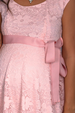 Pink Lace Short Dress with Tied Waist New Arrivals, Dresses, Short Dresses, On Sale Hello Miz/ CMD1064 - Peach $16.75