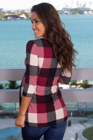 Burgundy Plaid Top New Arrivals, Tops Hello Miz/ CMT1771AF - Burgundy $9.75