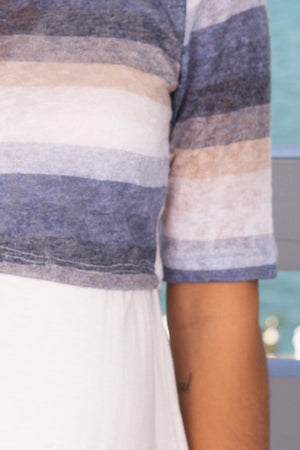Blue Striped Top New Arrivals, Tops, On Sale Hello Miz/ CMT1781A - Blue/Ivory $12.25