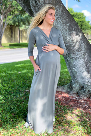 Olive Maxi Dress with Sleeves New Arrivals, Dresses, Maxi Dresses Hello Miz/ CMD1917S - Olive $14.75