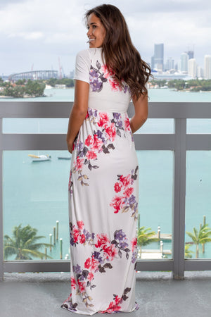 Ivory Floral Maxi Dress with Short Sleeves New Arrivals, Dresses, Maxi Dresses Bellamie/ D3515-11 - Ivory