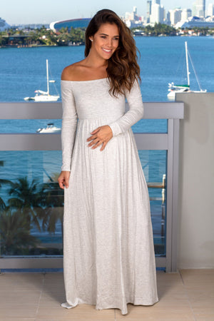 Light Gray Off Shoulder Maxi Dress New Arrivals, Dresses, Maxi Dresses Hello Miz/ CMD1849S - Light Gray $12.75