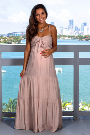 Blush Maxi Dress with Tie Front New Arrivals, Dresses, Maxi Dresses Wishlist/ WL18-1933 - Blush $21.95
