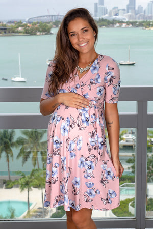 Pink Floral Short Dress with Tied Waist New Arrivals, Dresses, Short Dresses, On Sale My Bump/ MD0010OJAB - Pink $18.75