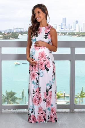 White and Pink Floral Maxi Dress New Arrivals, Dresses, Maxi Dresses Vanilla Bay/ VD40114 - White/Pink