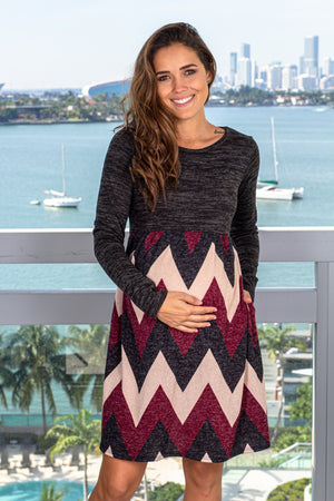 Black and Burgundy Long Sleeve Short Dress New Arrivals, Dresses, Short Dresses Hello Miz/ CMD1973C - Black/Burgundy $11.75