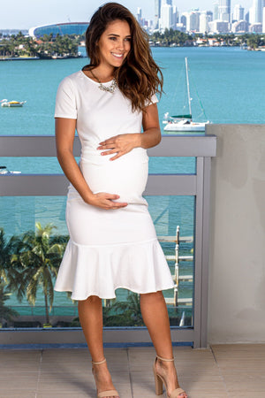Off White Midi Dress New Arrivals, Dresses, Short Dresses My Bump/ MD0047SD - Off White $13.25