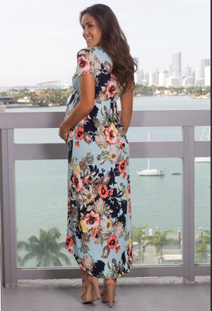 Mint Floral High Low Wrap Maxi Dress New Arrivals, Dresses, Maxi Dresses, On Sale Vanilla Bay/ VD7941 - Mint