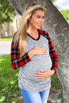 Gray Top with Plaid Sleeves New Arrivals, Tops Hello Miz/ CMT1833N - Grey/Red $10.50