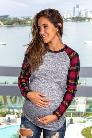 Gray and Red Long Sleeve Top New Arrivals, Tops Hello Miz/ CMT1833J - Grey/Red $10.50
