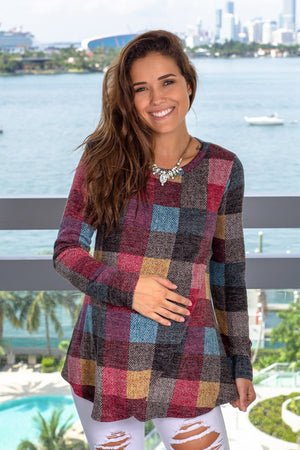 Multi Colored Long Sleeve Top New Arrivals, Tops, Hello Miz/ CMT1978A - Multi $12.25