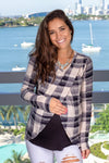 Black and Beige Plaid Top New Arrivals, Tops, Hello Miz/ CMT1846A - Navy/Black $12.75