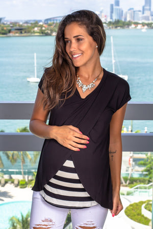 Black Top with Stripes New Arrivals, Tops, On Sale Hello Miz/ CNT1054B - Black $9.75