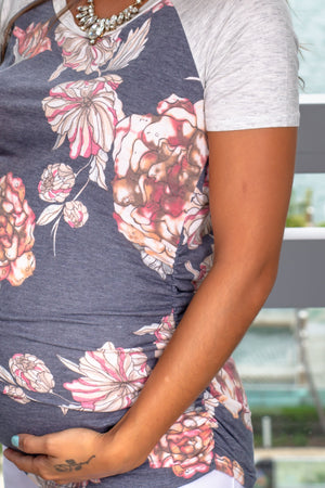 Navy and Gray Floral Top New Arrivals, Tops, On Sale Hello Miz/ CMT1887C - Navy/Grey $8.75
