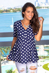 Navy Polka Dot Top New Arrivals, Tops, On Sale Hello Miz/ CMT1447AH - Navy/White $10.25