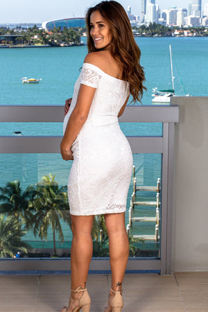 Off White Lace Off Shoulder Short Dress New Arrivals, Dresses, Short Dresses My Bump/ MD0038 - Off White $14.75